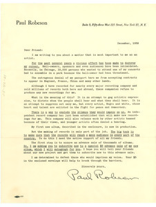 Circular letter from Paul Robeson to W. E. B. Du Bois