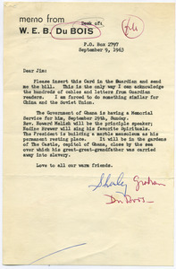 Letter from Shirley Graham Du Bois to James Aronson