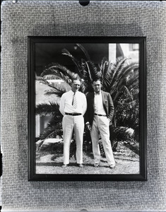 Bill Cunningham with Jack Sharkey the afternoon before he fought Stribling in Miami