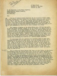 Letter from W. E. B. Du Bois to the Membership of the Third Committee, United National General Assembly
