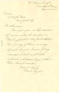 Letter from William E. Taylor to The Crisis