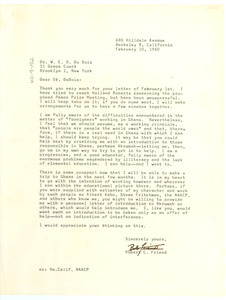 Letter from Robert C. Friend to W. E. B. Du Bois