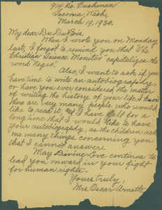 Letter from Mrs. Oscar Arnette to W. E. B. Du Bois