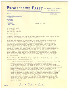 Letter from Progressive Party to Lillian Hyman