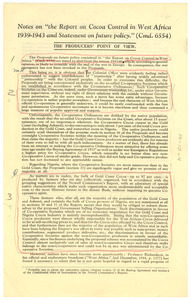 Notes on 'the Report on Cocoa Control in West Africa 1939-1943 and Statement on future policy.'