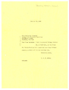 Letter from W. E. B. Du Bois to Brooklyn Wallace for President Committee