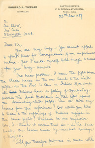Letter from the Shripad R. Tikekar to the editor of The Crisis