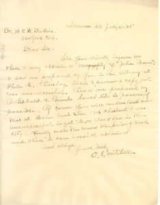 Letter from E. A. Mitchell to W. E. B. Du Bois