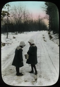 Girls on a snowy road