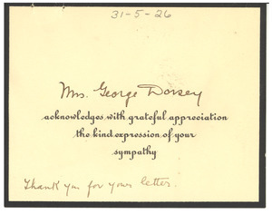 Thank you card from Mrs. George Dorsey to W. E. B. Du Bois