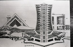 Architectural sketch of imagined city by Paolo Soleri