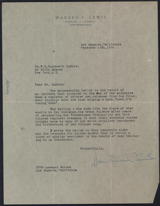 Letter from Warren Frederic Lewis to W. E. B. Du Bois