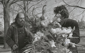 Allen Ginsberg and Gregory Corso at the funeral of Jack Kerouac