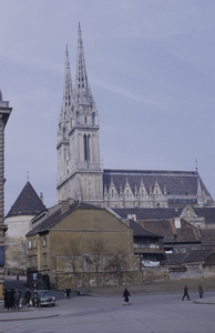 Zagreb cathedral in the fall