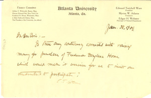 Letter from Atlanta University to W. E. B. Du Bois