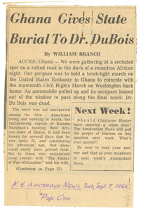 Ghana gives state burial to Dr. Du Bois