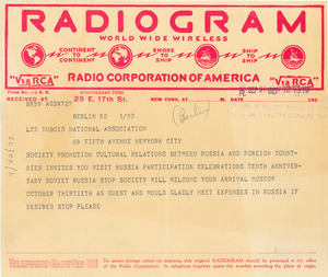 Telegram from The Society for the Promotion of Cultural Relations Between Russia and Foreign Countries to W. E. B. Du Bois