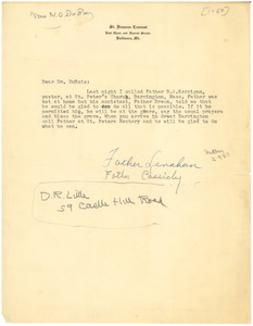 Letter from Father Lenahan and Father Cassidy to W. E. B. Du Bois