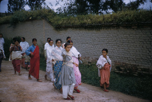 Young women going to a festival