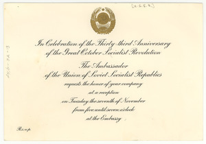 Invitation from Ambassador of the Union of Soviet Socialist Republics to W. E. B. Du Bois