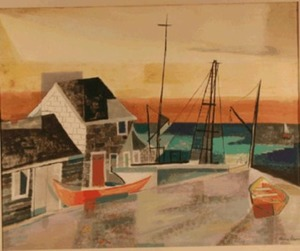 """Along Provincetown Bay"" c. 1959, by Lena Gurr (1897-1992)"