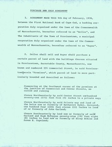Heritage Museum Purchase and Sale Agreement