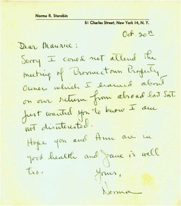 """Note from Norma Starobin to """"Maurice"""" (Brigadier?)"""