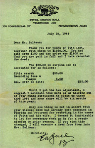 Letter from Ethel Ball to Fritz Bultman's father