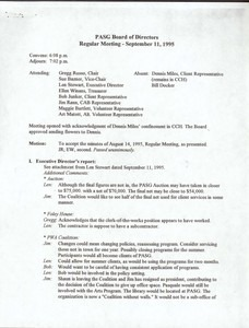 Provincetown Aids Support Group Board of Directors Meeting September 1995