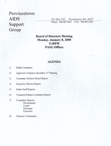 Provincetown AIDS Support Group Board of Directors Meeting January 2000