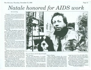Pasquale Natale Honored for AIDS Work November 1990