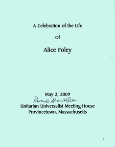 Alice Foley, PASG Co-Founder Memorial Service