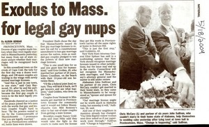 Exodus To Massachusetts For Legal Gay Nups