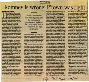 Romney Is Wrong; Provincetown Was Right