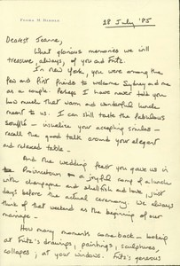 Letter from Flora Biddle (July 28, 1985)