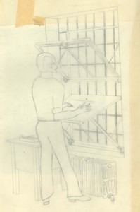 Drawing by Dennis Meggs to the Bultmans