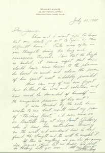 Condolence Letter from Stanley Kunitz