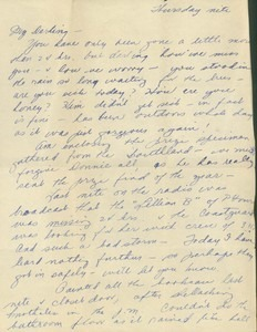 Letter from Jeanne to Fritz (dated Thursday nite)