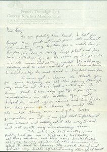Letter to Fritz Bultman with Concert Program by Lee Luvisi