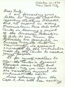 Letter from Lillian to Fritz Bultman (dated October 16, 1970)