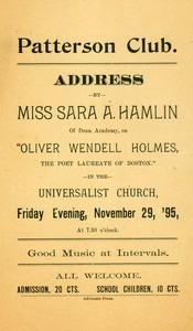 An Address on Oliver Wendell Holmes (November 29, 1895)