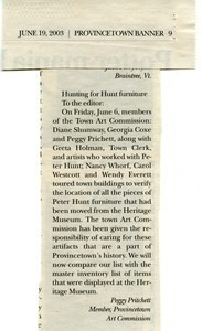 Hunting for Hunt Furniture article 2003