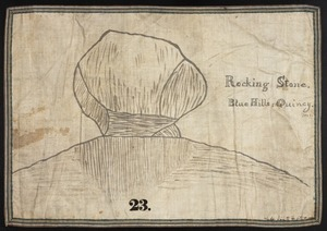 Orra White Hitchcock drawing of rocking stone, Blue Hills, Quincy, Massachusetts