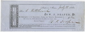 Edward Hitchcock receipt of payment to Warren F. Draper, 1861 July 31