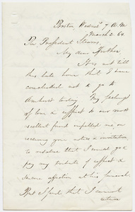 N. Adams letter to William Augustus Stearns, 1864 March 2