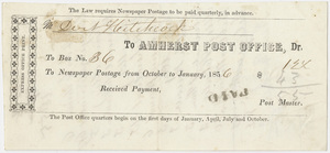 Edward Hitchcock receipt for the Amherst Post Office, 1856