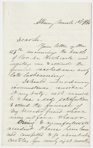 James Hall letter to William Augustus Stearns, 1864 March 1