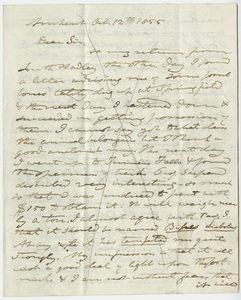 Edward Hitchcock letter to Benjamin Silliman, 1855 October 12