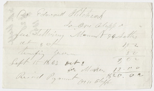Edward Hitchcock receipt of payment to Oliver Clapp, 1863
