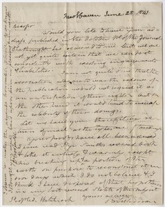Benjamin Silliman and Benjamin Silliman, Jr. letter to Edward Hitchcock, 1841 June 28